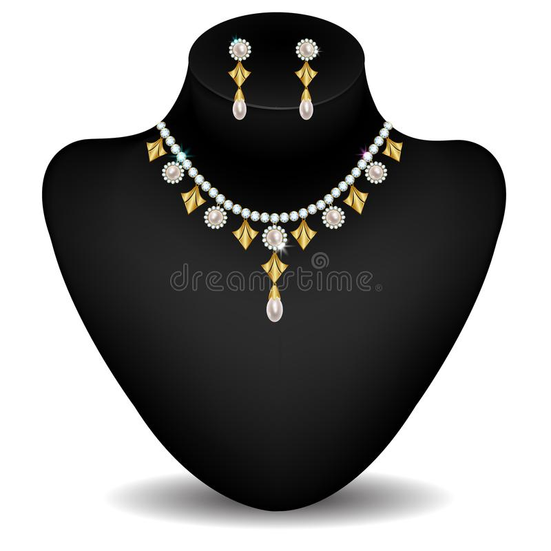 Necklace on the dummy. Gold necklace and earrings with diamonds and pearls on a dummy royalty free illustration