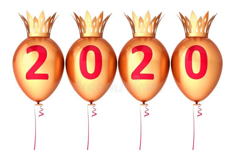 Gold New 2020 Years Eve Baloon Party ballons avec couronnes illustration de vecteur