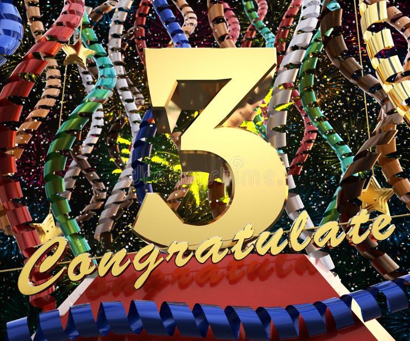 Gold Nr. drei mit den Wortglückwünschen auf einem Hintergrund von bunten Bändern und von Gruß Abbildung 3D lizenzfreie abbildung