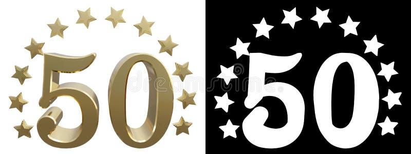 Gold Nr. fünfzig, verziert mit einem Kreis von Sternen Abbildung 3D stock abbildung