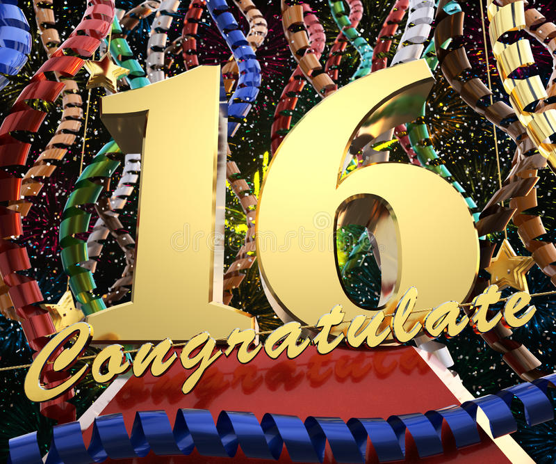 Gold Nr. sechzehn mit dem Wort beglückwünschen zu einem Hintergrund von bunten Bändern und von Gruß Abbildung 3D stock abbildung