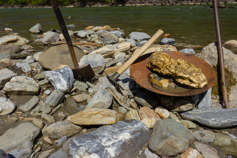 Gold Nugget mining from the River royalty free stock images