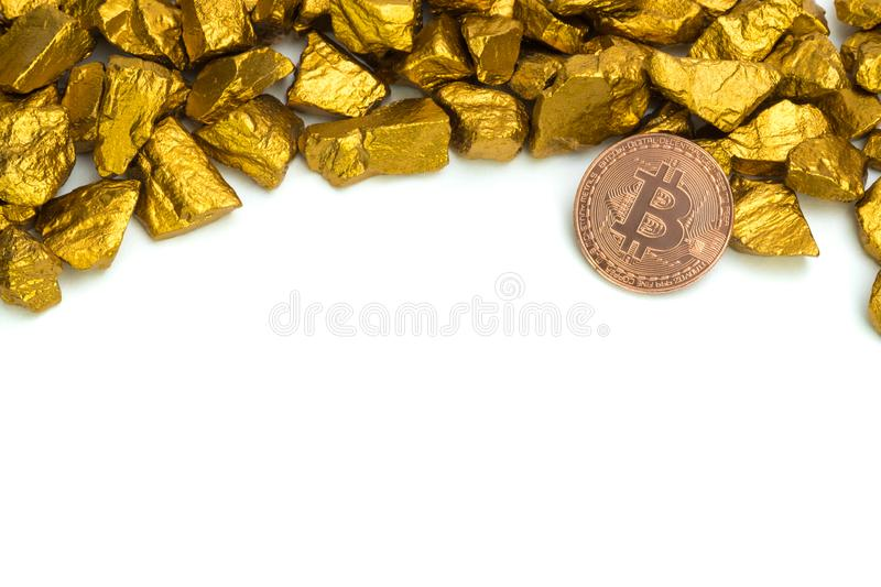 Gold nuggets or gold ore and glass jar isolated on white background. Gold nuggets, gold ore , precious stone or lump of golden stone and glass jar isolated on royalty free stock photo
