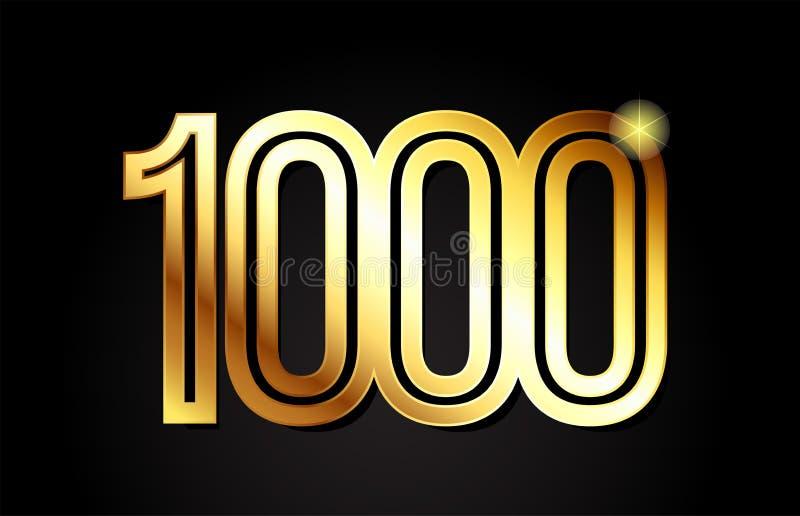 Gold number 1000 logo icon design. Gold number 1000 logo design suitable for a company or business vector illustration