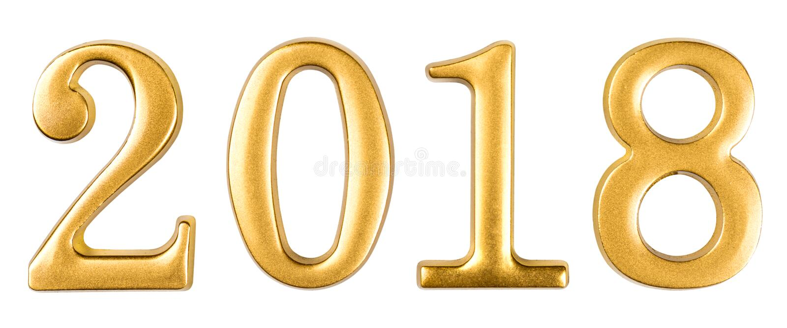 Gold numbers 2018 isolated on white stock photography