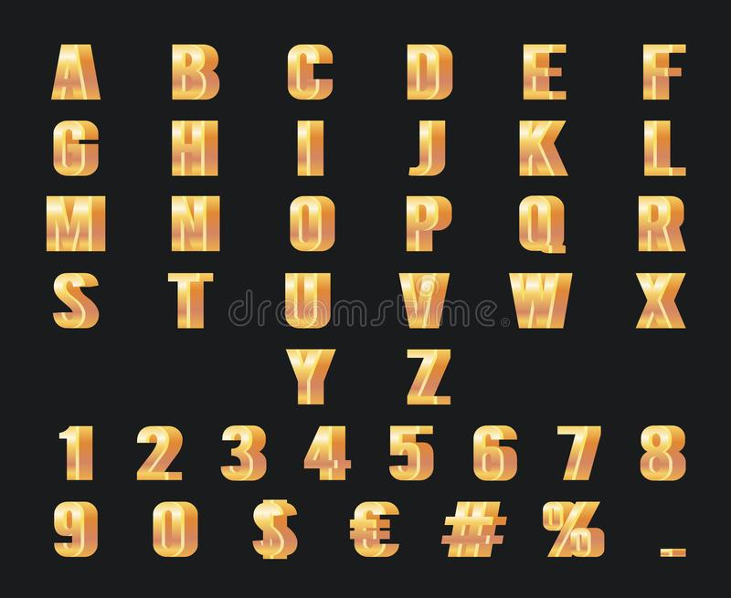 Gold numbers letters 3d alphabet golden metal decoration element symbol set design vector illustration vector illustration