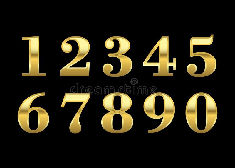 Gold numbers isolated. Gold numbers set. Golden metallic font, isolated on black background. Beautiful typography metal design for decoration. Symbol elegance royalty free illustration