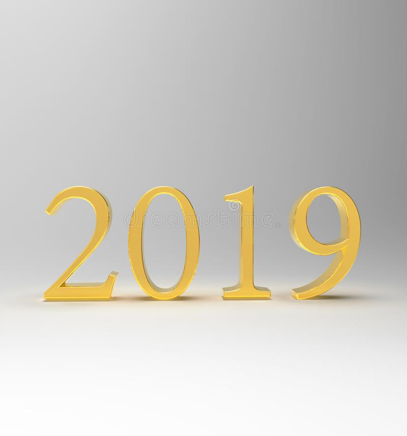 Gold numbers 2019 with shadows stock image