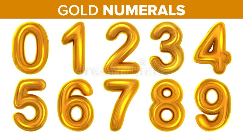 Gold Numerals Set Vector. Golden Yellow Metal Letter. Number 0 1 2 3 4 5 6 7 8 9. Alphabet Font. Typography Design vector illustration