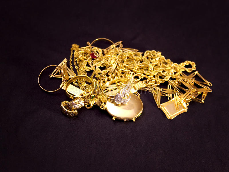 Gold objects stock images