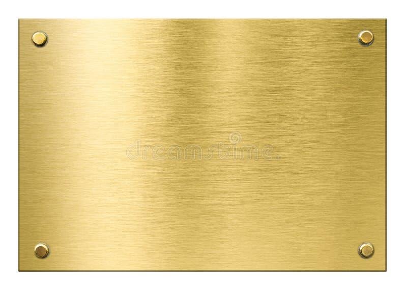 Gold- oder Messingmetallplakette mit den Nieten lokalisiert lizenzfreies stockfoto