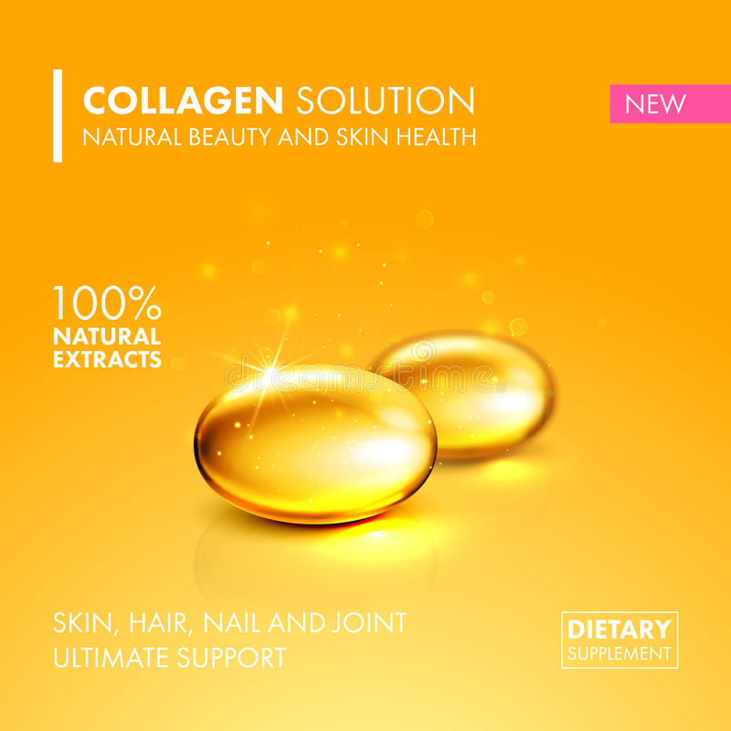 Gold oil collagen capsule pill illustration. Gold oil collagen capsule. Healthy dietary capsule supplement product concept. Vector collagen pill illustration royalty free illustration