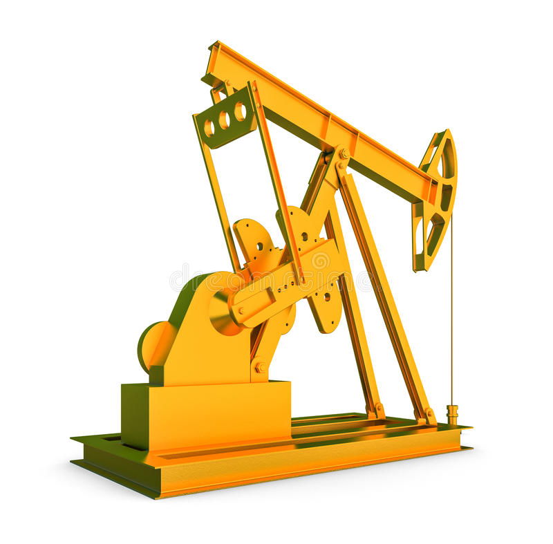Gold oil rig. On isolated white background vector illustration