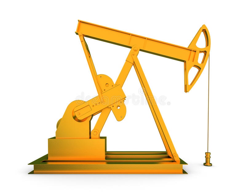 Gold oil rig. On isolated white background 3D vector illustration