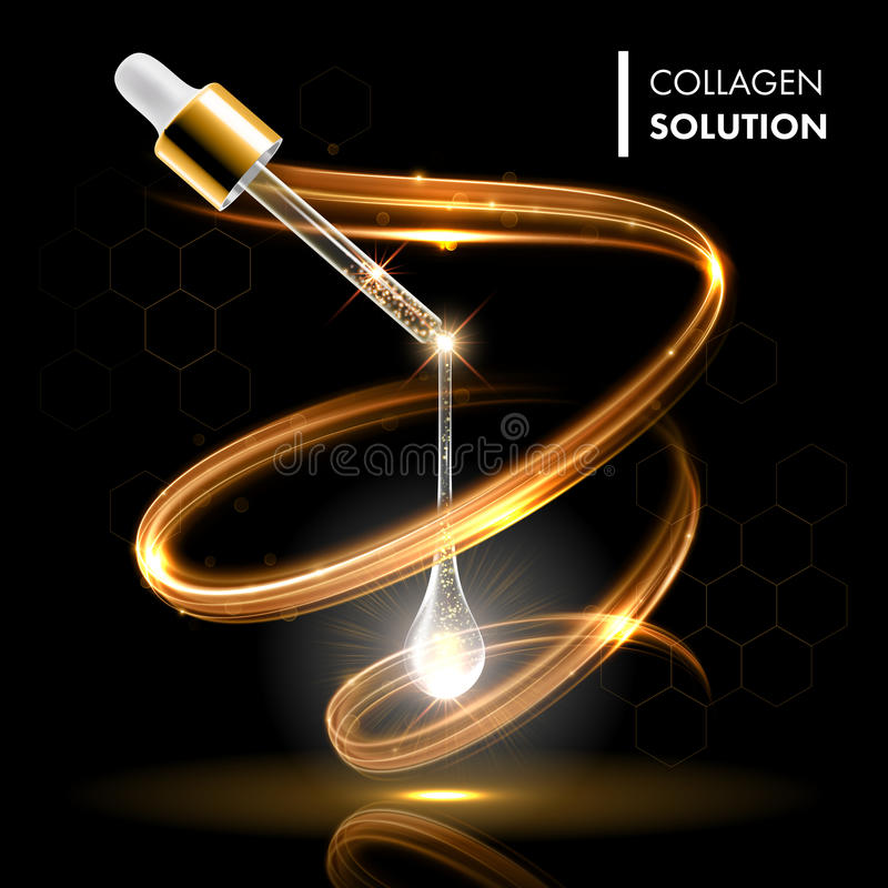 Gold oil serum collagen droplet cosmetic treatment. Face skin care moisturizing concept. Premium shining enzyme droplet vector illustration
