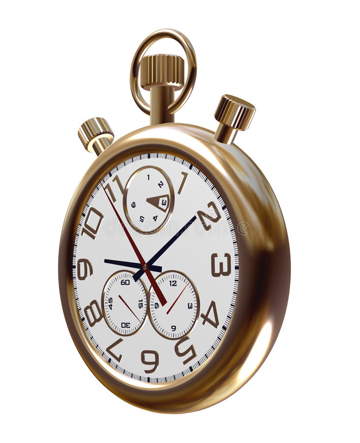 Download Gold Old Clock On White Stock Photography - Image: 23349792
