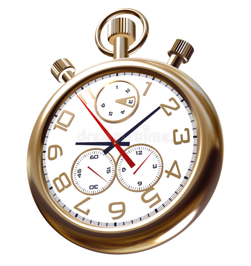 Gold Old Clock On White Royalty Free Stock Image