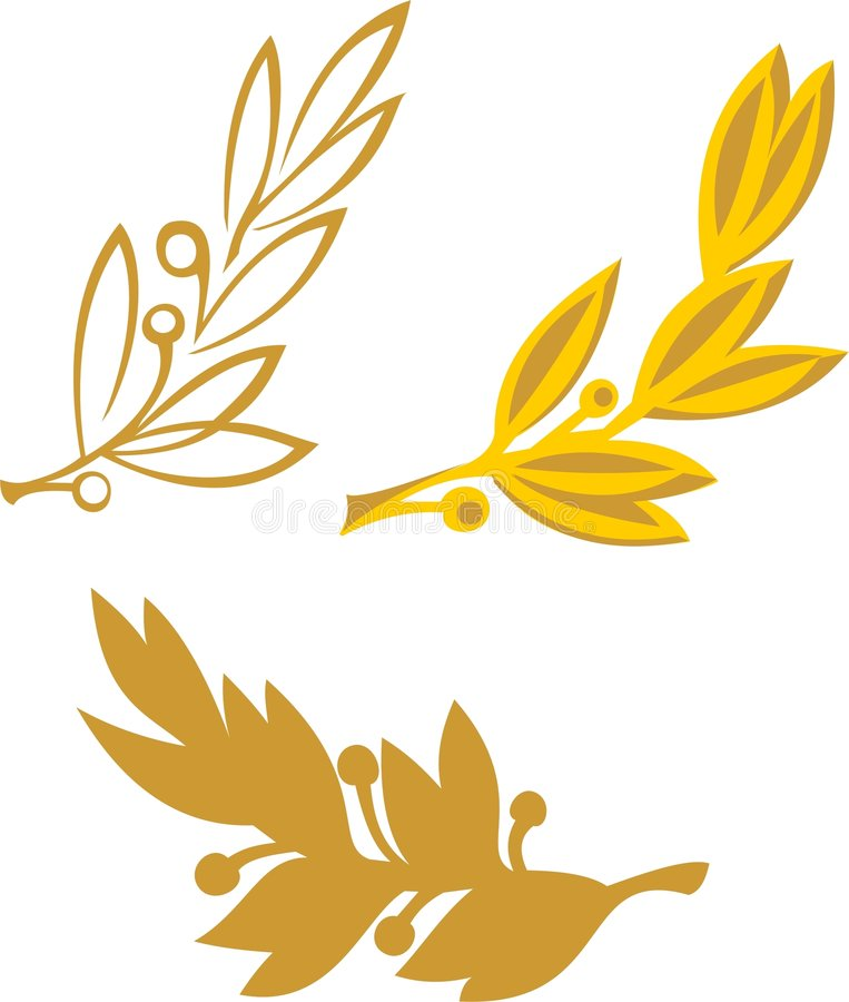 Gold olive branch royalty free stock photos