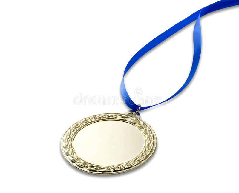 Gold olympics medal 3 with clipping path. A gold olympics medal with clipping path isolated on white with blue ribbon stock photography