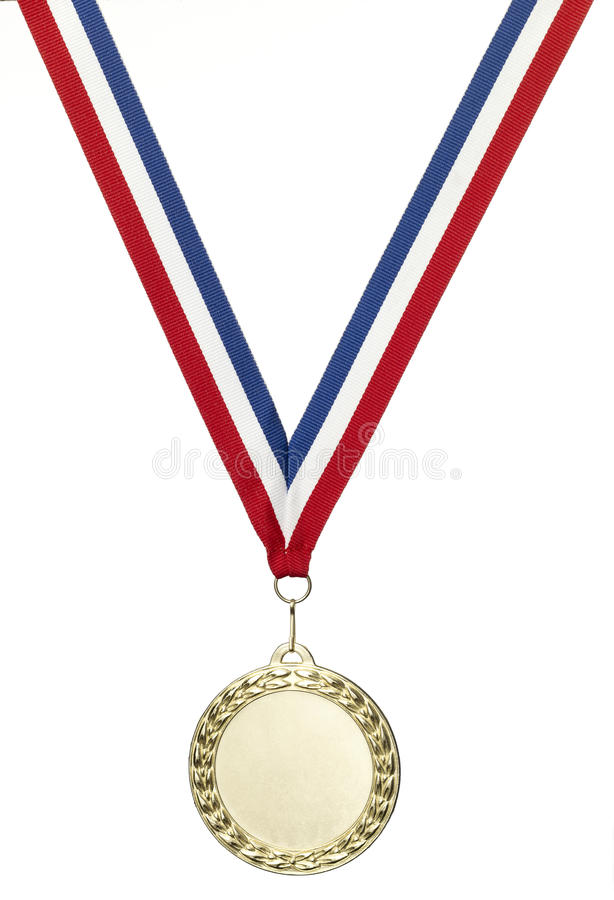 Gold olympics medal blank with clipping path. A gold olympics medal with clipping path isolated on white royalty free stock images