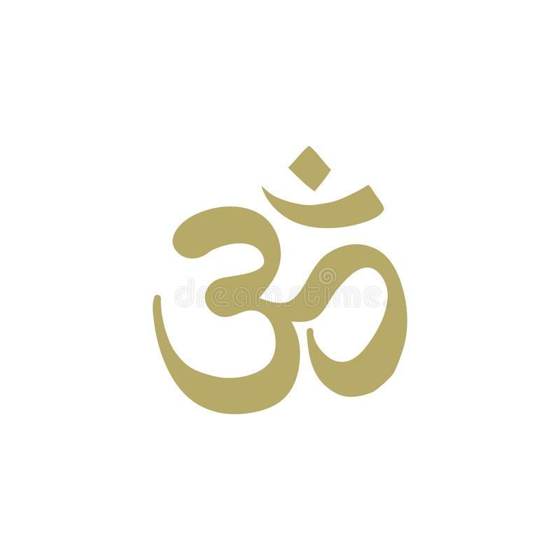 Gold OM symbol. OM symbol, Spiritual icon in Buddhism, logo icon stock illustration