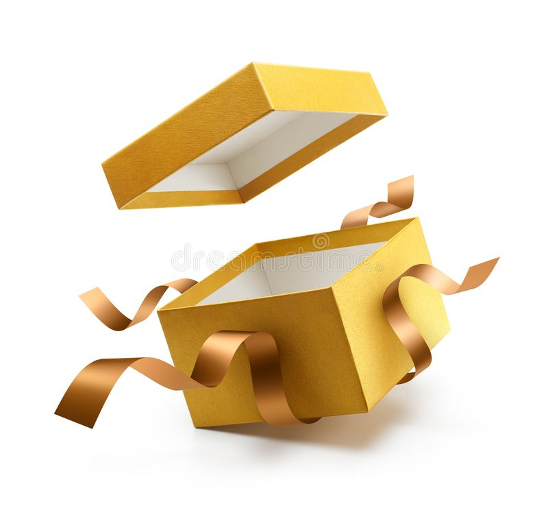 Gold open gift box with ribbon royalty free stock photo