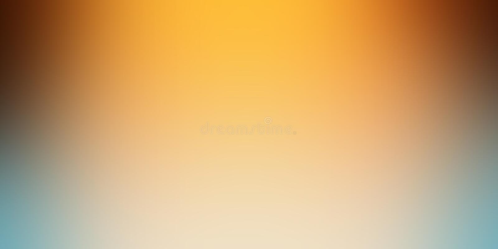 Gold orange background blur in soft yellow black white and blue with shiny spotlight from top border with smooth blurry texture stock illustration
