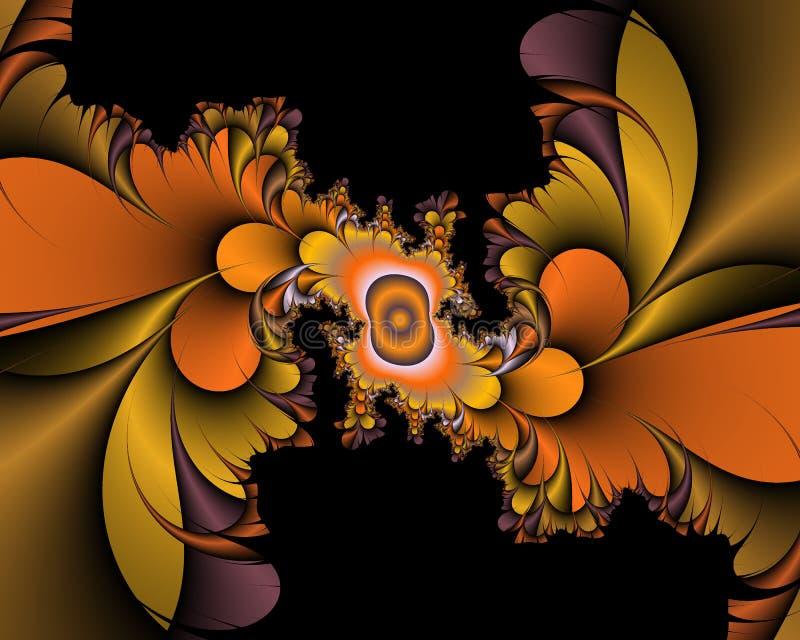 Gold orange black bright shapes, baroque fantasy fractal, abstract flowery spiral shapes, background royalty free illustration
