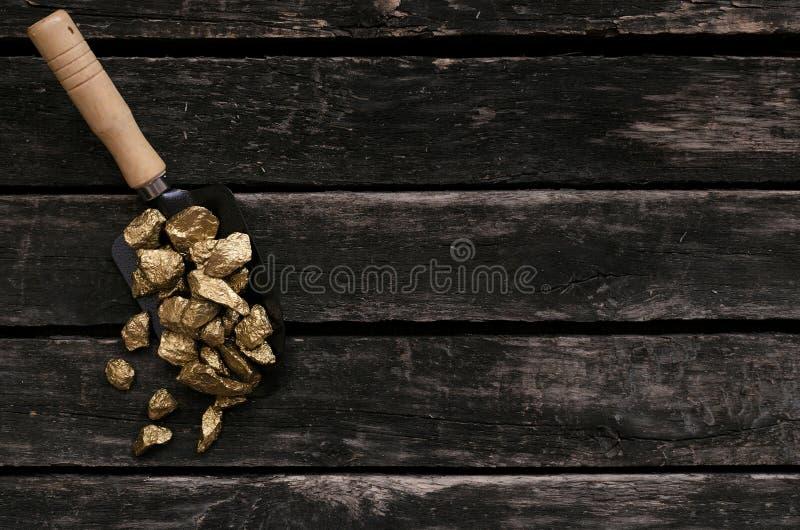 Golden ore in a shovel. Treasure hunter. Adventurer. Gold ore nuggets in shovel on old adventurer table. Goldminer Treasure hunter concept stock image