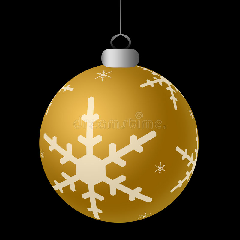 Gold Ornament. Single shiny gold ornament hanging against a black background royalty free illustration