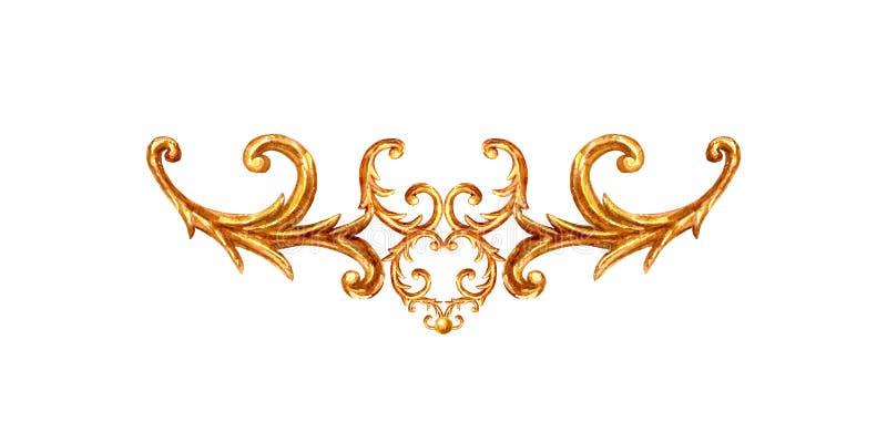Gold ornament baroque style element vignette. Watercolor hand drawn vintage engraving floral scroll filigree frame royalty free illustration