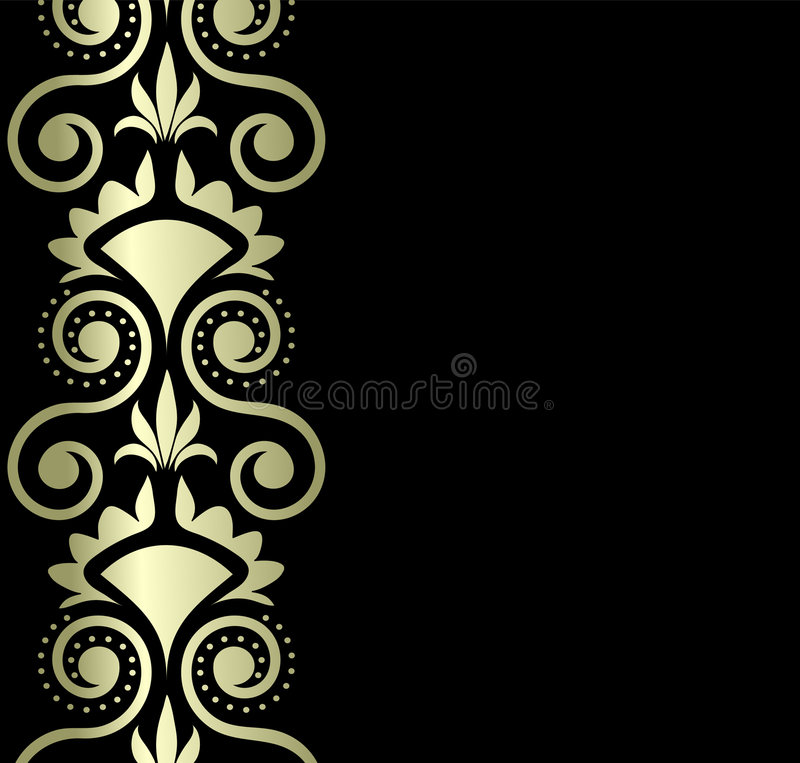 Gold Ornament On Black Background Royalty Free Stock Image