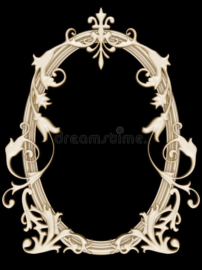 Free Gold Ornamented Picture Round Frame Isolated Stock Image - 16780261