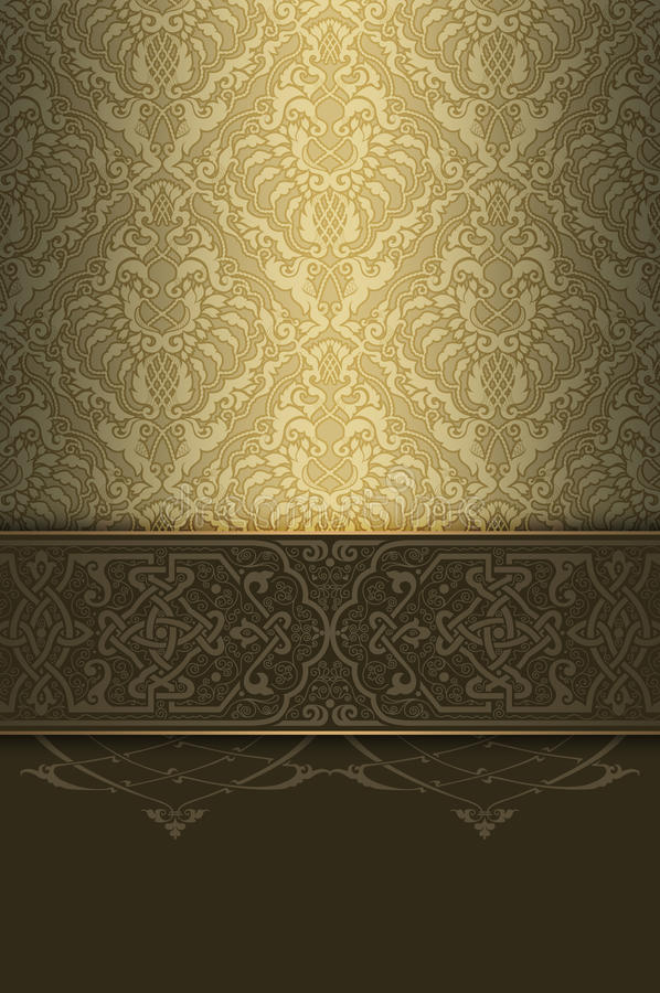 Gold ornate background with decorative ornament and border. stock images