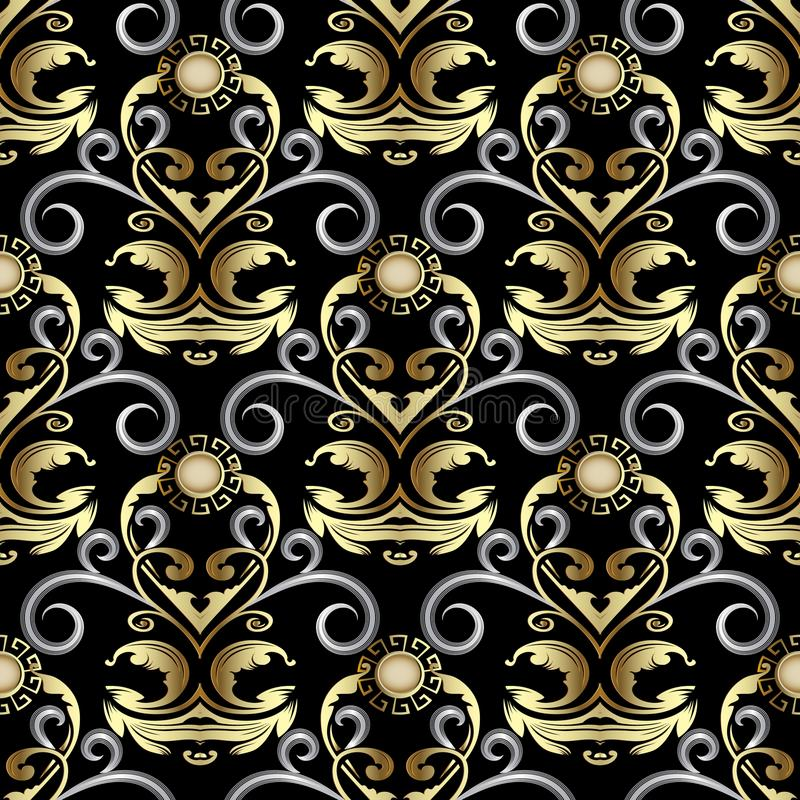 Gold ornate Baroque Damask seamless pattern. Vector rich floral stock illustration