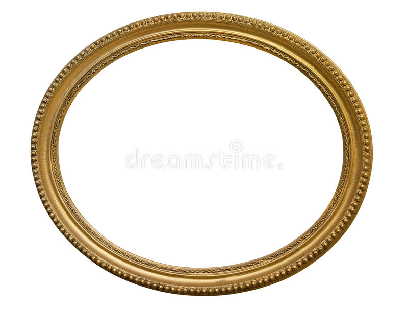 Gold oval picture frame. Isolated over white royalty free stock images