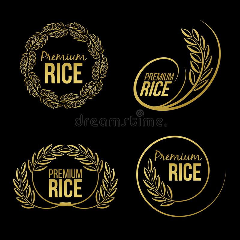 Gold paddy rice premium organic natural product banner logo on black background vector design royalty free illustration