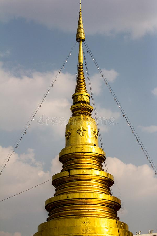 Gold pagoda thailand  in the north of Thailand stock images