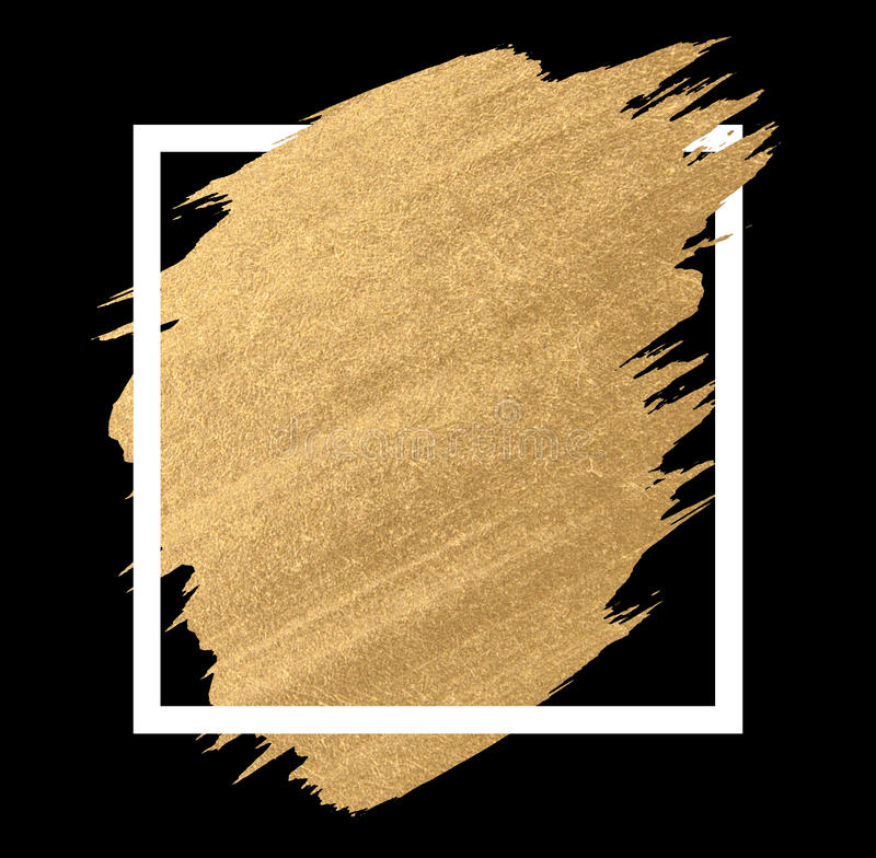 Gold paint in black square brush strokes for the background. Of poster stock images