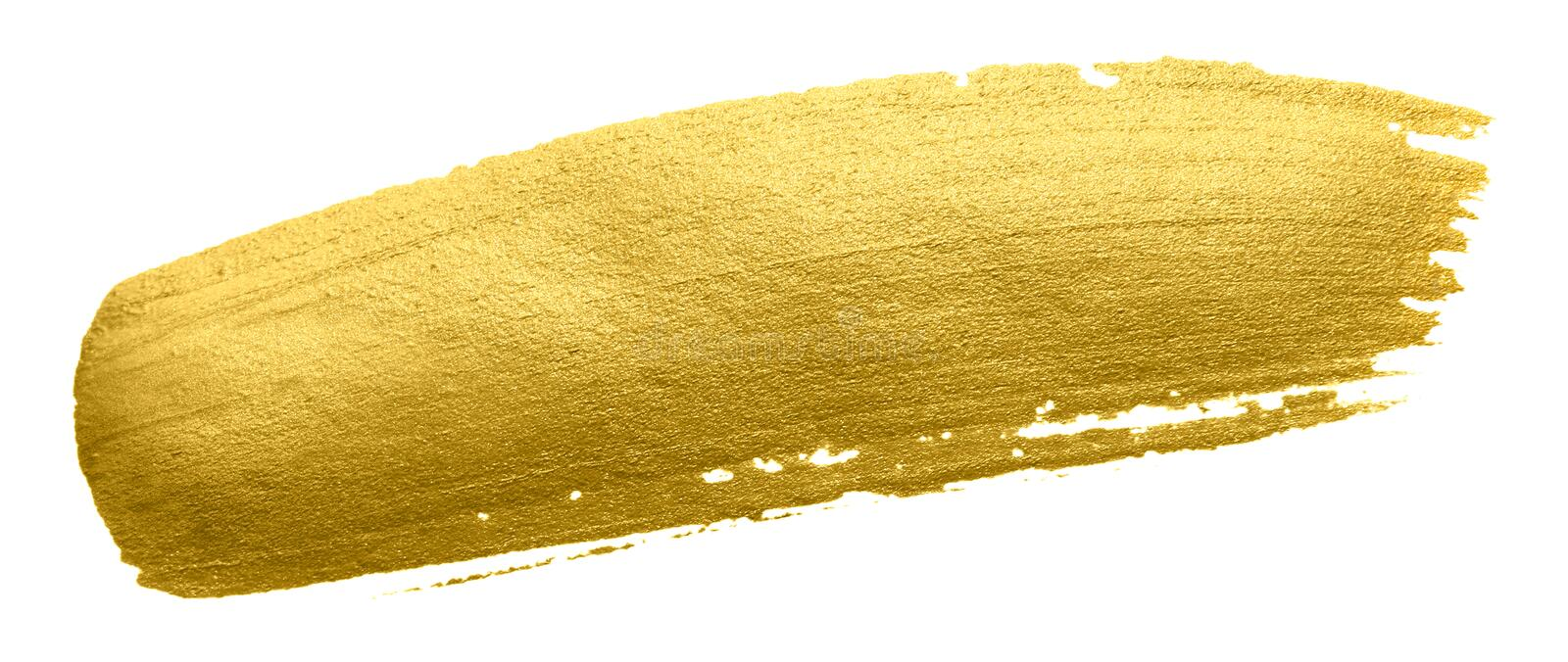 Gold paint brush smear stroke. Acrylic golden color stain on white background. Abstract gold glittering textured glossy illustrati royalty free stock images