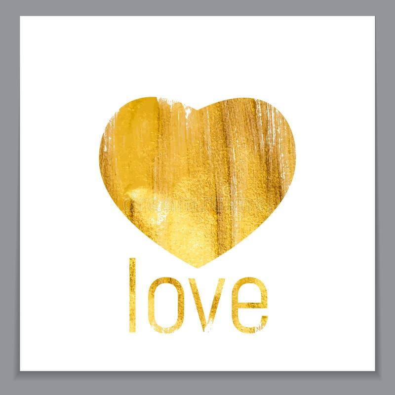 Gold Paint Glittering Textured Heart Art Illustration. Vector Il royalty free illustration