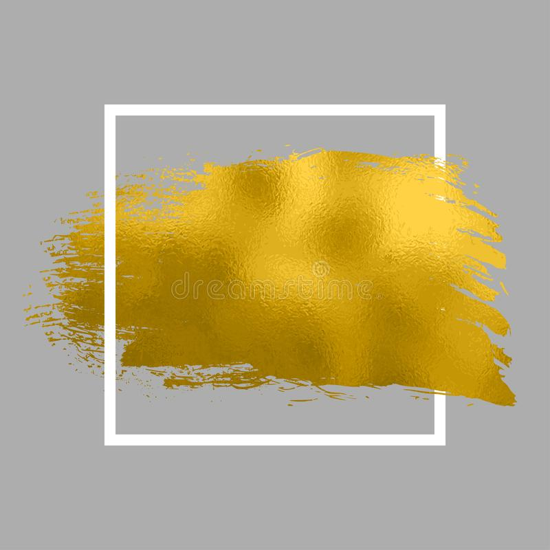 Gold paint in square. Brush strokes for the background of poster. Golden paint glittering textured illustration. Shine gold smear vector illustration