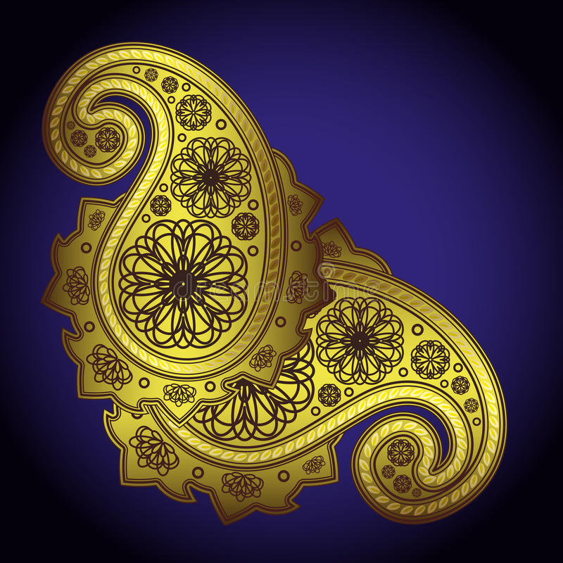 Gold Paisley Illustration stock images