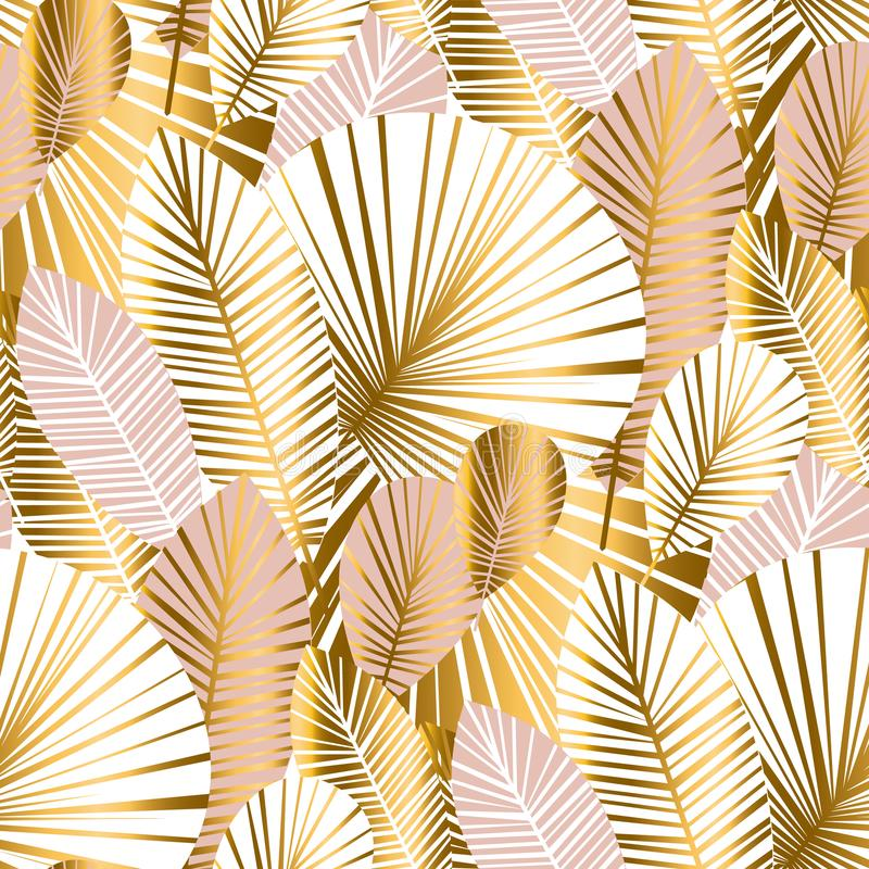 Gold and pale rose abstract leaves seamless pattern. For background, wrapping paper, fabric on blue checkered background. floral botalical endless repeatable stock illustration