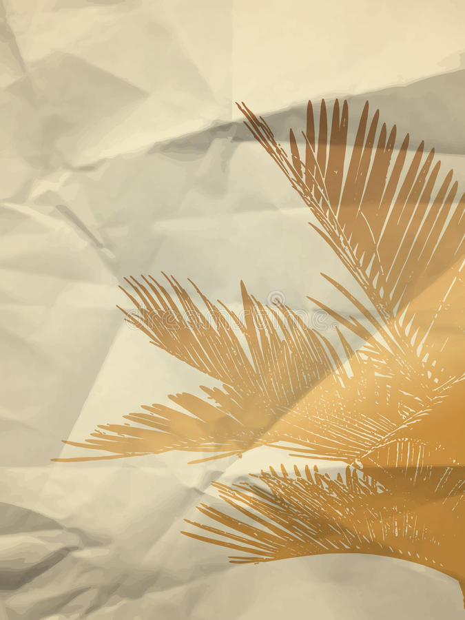 Gold palm leaf on paper texture royalty free stock image