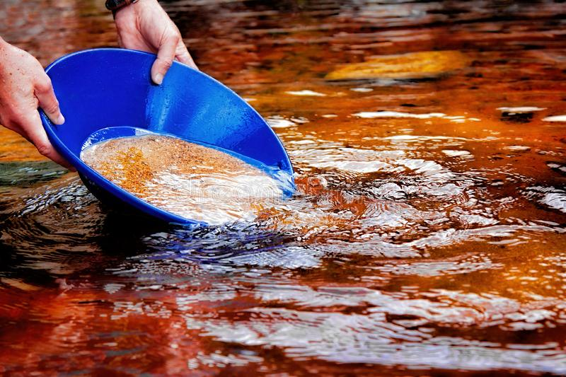 Gold panning in a river royalty free stock photo