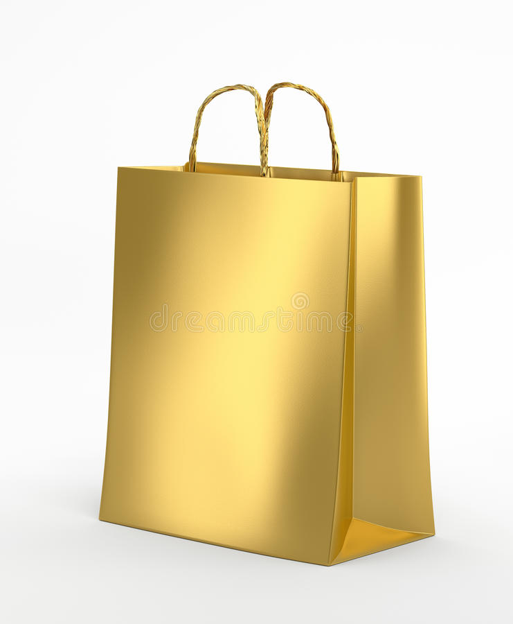 Gold Paper Bag. Clipping paths vector illustration