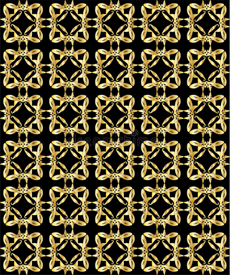 Gold pattern on black background 2 royalty free illustration