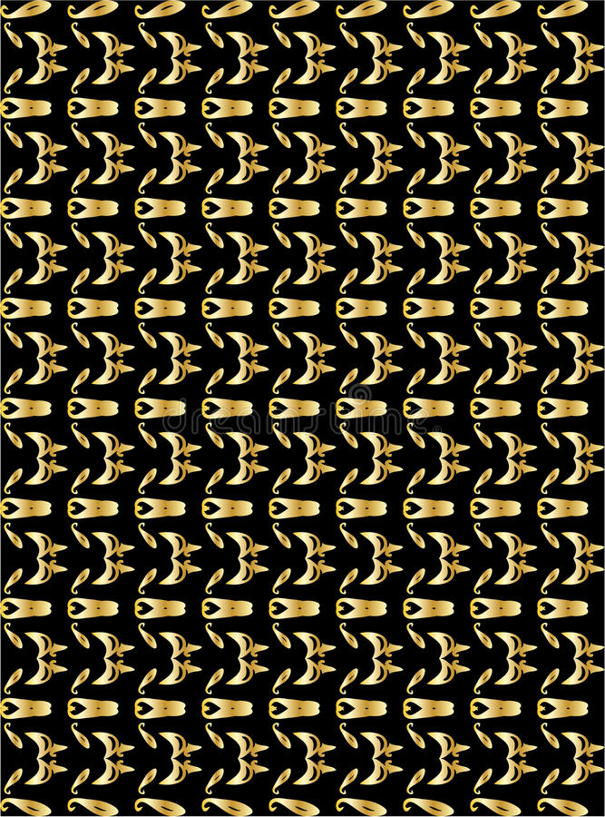 Gold pattern on black background 4 stock illustration