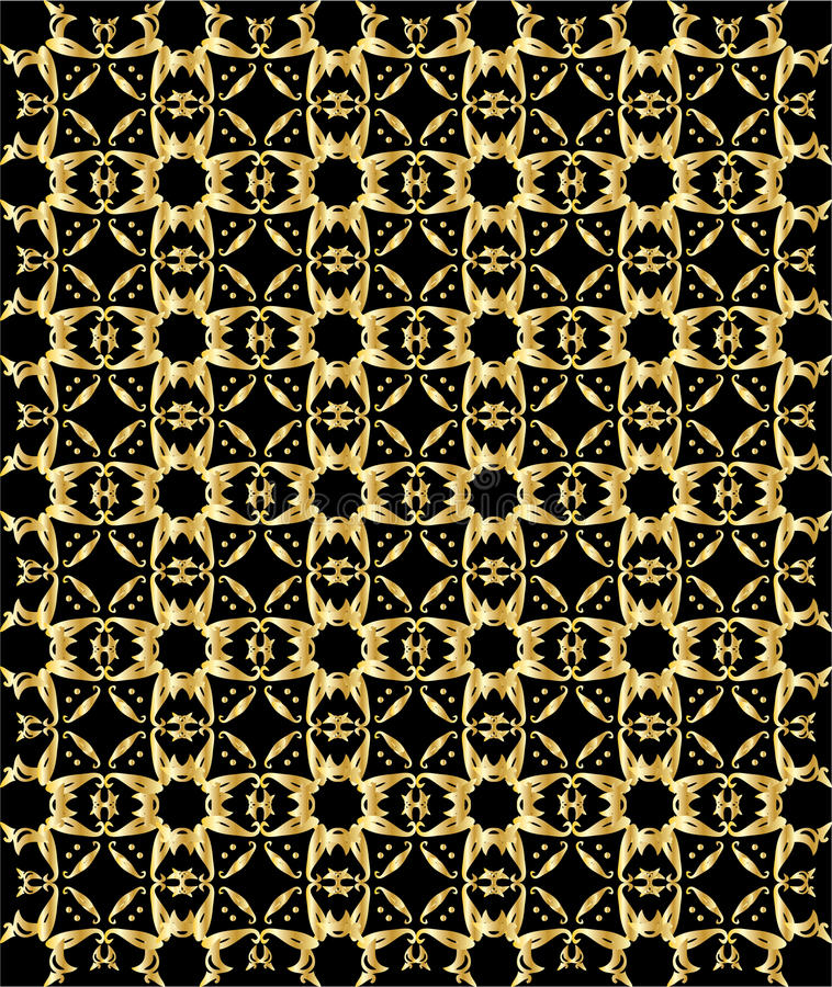 Gold pattern on black background 5 vector illustration